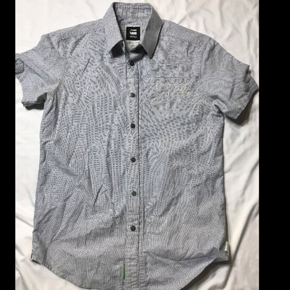 8ee78a6bcc G-Star Other - G-Star Men s Blue Striped Short Sleeve Button Down